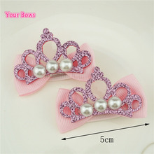 Your Bows 2Pcs Shiny Leather Crown Pearl Hairpins Stylish Barrettes Ribbon Bows Hair clips Accessories