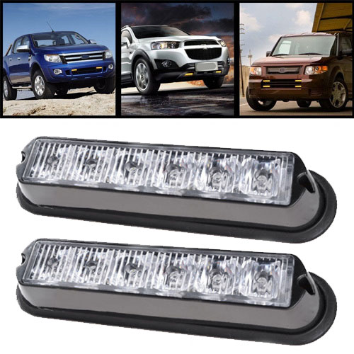 08001-2 free shipping  2X6LED  DC 12-  12 LED Warning Beacon Emergency Car Truck Strobe Flash Light Bar SUV Project lights<br>