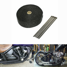 10M * 2inch  Black Exhaust Heat Wrap Downpipe Engine Bay Exhaust Shields Motorcycle Exhaust Pipe Wrap