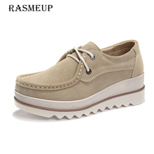 RASMEUP Genuine Leather Women's Lace Up Flat Shoes 2018 Women Platform Sneakers Woman Casual Flats Moccasins Creepers Plus Size(China)