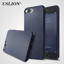 USLION Luxury Carbon Fiber Phone Case for Apple iPhone 7 7 Plus Soft Silicone Cover Back Cases Bags Fundas For iphone7 Plus