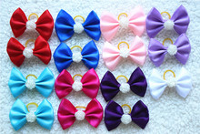 2016 New 50pcs/lot  Mix Dog Large Bow rubber bands Pet Hair Bows Rose Pearl  Dog Hair Accessories Pet Grooming ProductsCute Gift