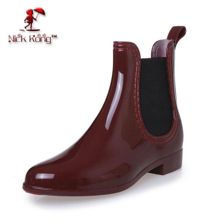 2016 Fashion Elastic Band Solid Women Rain Boot Waterproof Women Boots Rubber Jade Stretch Shoes women shoes plues size 041<br><br>Aliexpress