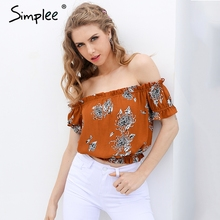 Simplee Sexy off shoulder print blouse shirt Elegant short sleeve flower soft blouse blusas women tops Summer casual streetwear(China)