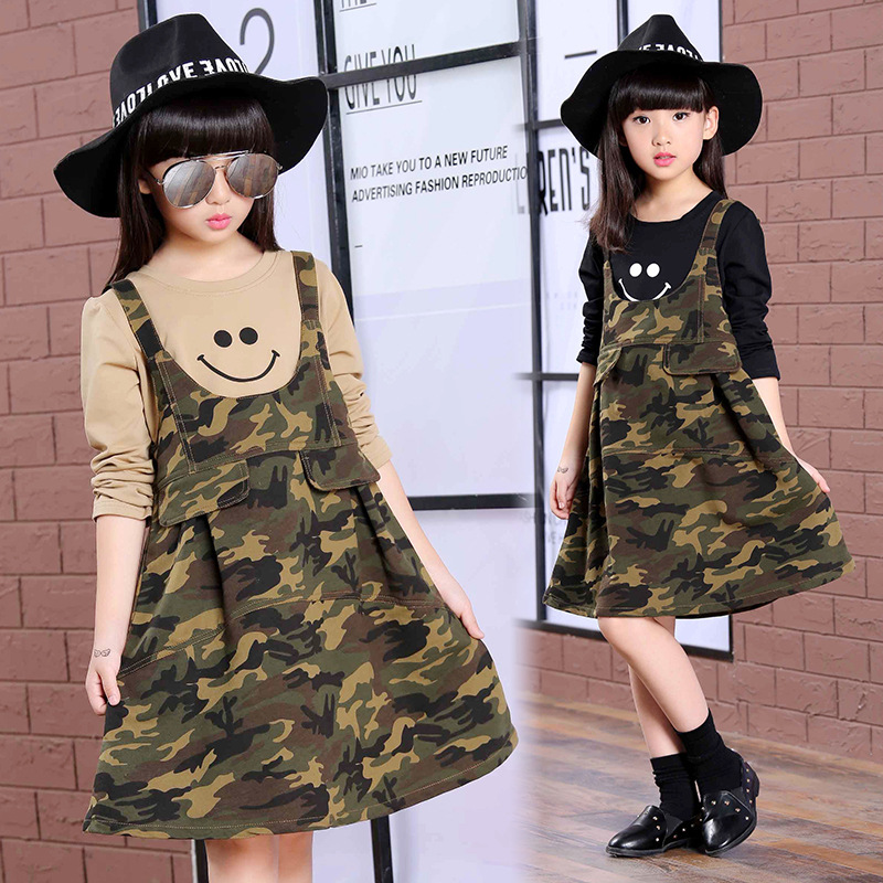 Autumn New Product Korean Girl Child Pure Cotton Camouflage Leisure Time Long Sleeve 2 Pieces<br>