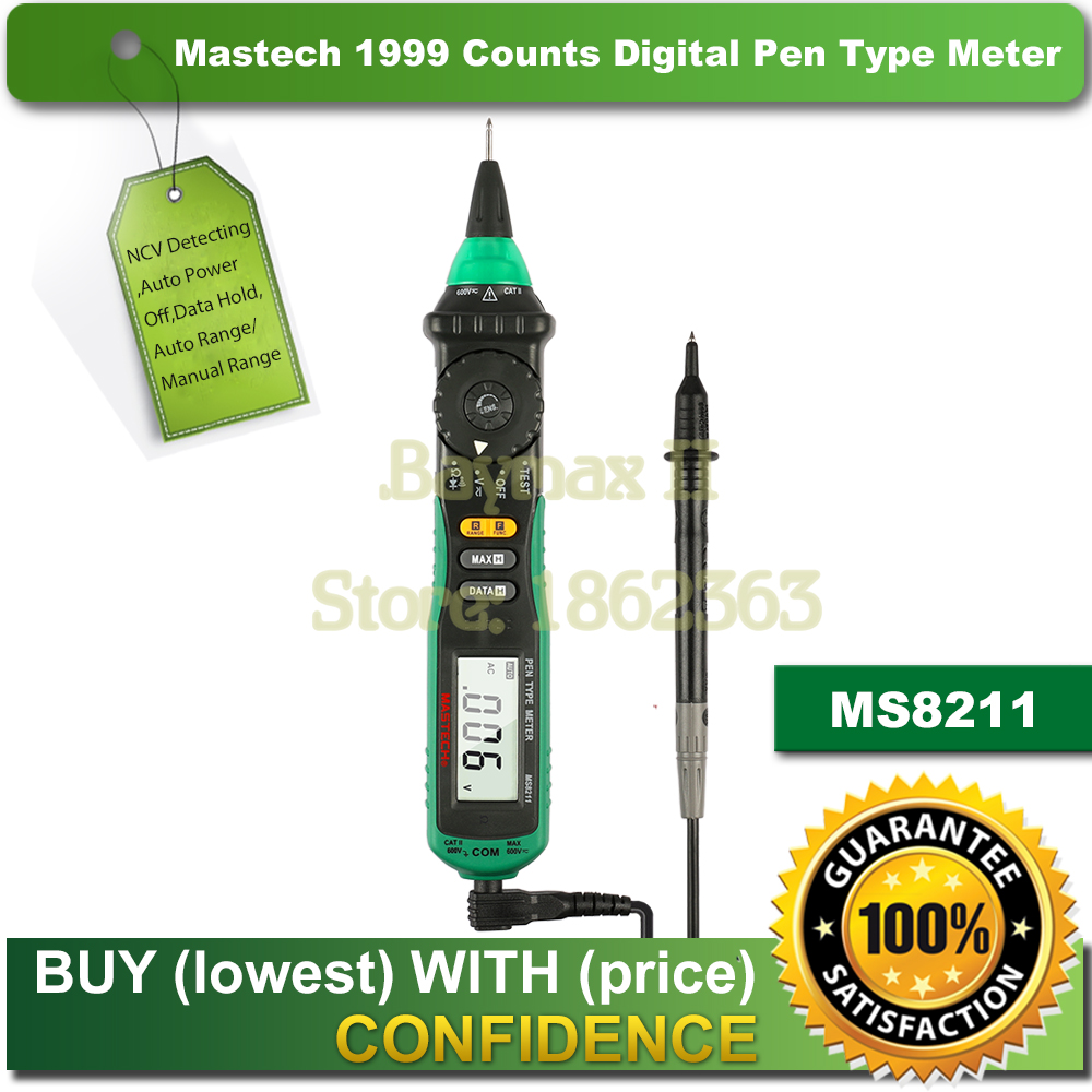 Mastech MS8211 Pen-Type Auto-Ranging Digital Multimeter with Non-contact AC Voltage Detector<br>