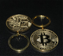 Buy Keychain Chain Gold Silver Key Ring Keyring BTC Metal Physical Bitcoin for $2.39 in AliExpress store