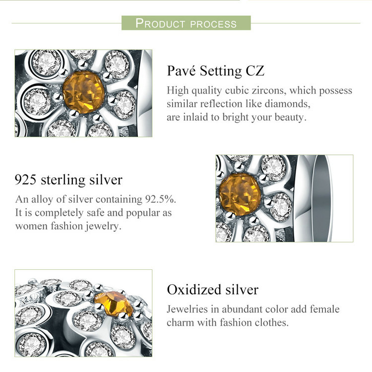 Genuine 925 Sterling Silver Stackable Daisy Flower Clear CZ Charm Beads
