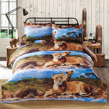 4pcs/set bed cover Luxury 3D Printed Bedding Set Lion Pattern Queen Size Duvet Cover+Bed Sheet+2 Pillowcases housse de couette(China)