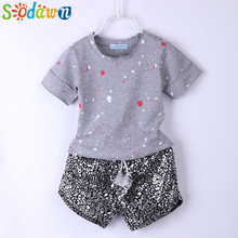 Sodawn 2017 Summer Style Girls Clothes Paint Points Tops+Leopard Grain Shorts 2Pcs Baby Girls Clothing Set Kids Clothes