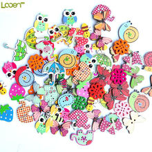 Looen Brand 50Pcs Mixed Animal Button 2 Holes Wooden Beatiful Buttons Sewing Craft Scrapbooking DIY Amazing 2017 Fashion New(China)