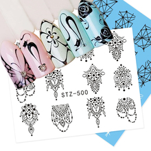 1 Sheet Jewelry Cat Water Transfer Nail Art Stickers Decals Butterfly Retro Black Lace Designs DIY Charming Tips SASTZ497-450(China)