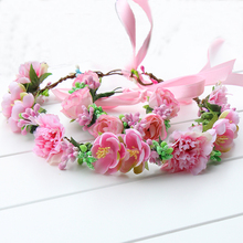 Pink color headwear set headbands bohemian beach sand flower hair band bridal wreath crown Floral Garlands Hair Band Accessories(China)
