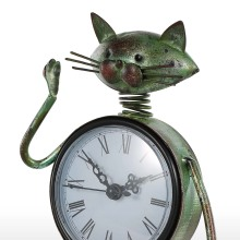 Tooarts Clock Handmade Vintage Metal Cat Iron Figurine Mute Table Clock Practical Clock Craft Home Decoration Accessories
