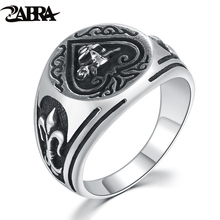 ZABRA 7-13 Solid 925 Silver Engraved with Skull Rose Flower Anchor Ring for Men Women Vintage Fashion Sterling Silver Jewelry(China)