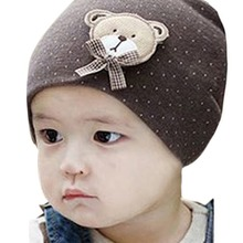 New Fashion 0-9M Lovely Infant Unisex Baby Boys Girls Bear Dots Pattern Cotton Cap Winter Beanie Hats 9 Colors(China)