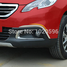 2 Pcs/set Car Front Fog Lights Frame Anti Scratich Stainless Steel Trim Sticker for Peugeot 2008 Year 2014 2015 2016 Acc.(China)