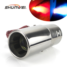 Universal Car Stainless Steel Spray Device Light Tail Throat Exhaust Red Blue Leds Modified Flame Spray Light Modulator Styling(China)
