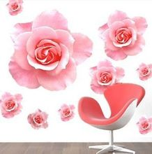 Fashion Wall Sticker 3D Pink Rose Flower Removable Home Decor Decal Vinyl stikers mural Smile asd