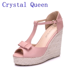 Crystal Queen Women Sandals Wedges Shoes Platform High Heels Sandals T Belt Women Sandals Hemp Rope Straw Braid Wedding Shoes