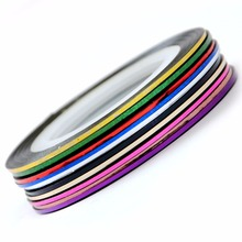 10 PCS Rolls Nails Stripping Tape Waves Line Strips Decor Decals Wraps Tools Self-Adhesive Colorful Nail Art Stickers for Nail