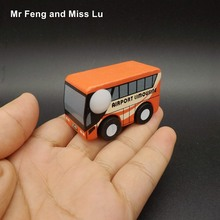 Child Wooden Vehicle Mini Car Airport Limousine Bus Model Educational Game