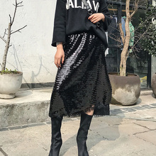 Buy Spring 2018 casual lace skirts womens high waist skirt sequins long skirt black womens clothing for $18.97 in AliExpress store