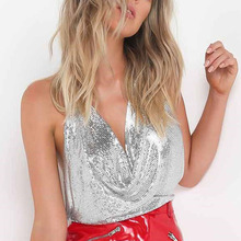 Buy Summer Women Sexy Halter Metal Crop Tops Sleeveless Backless Sequin Body Chain Night Club Vest -MX8