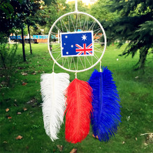 12*30CM Wind Chimes Indian Style native American USA flag dream catcher tapestry europe dream catcher for room car decorate(China)