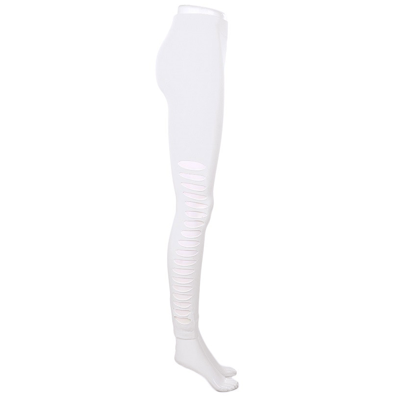 Damen Skinny Hollow Ripped Hole Elastic Pencil Stretchy Fit Hosen Leggings JO