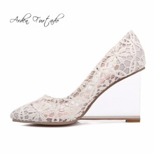 Arden Furtado 2017 spring autumn black lace crystal heel wedges high heels 9cm fashion shoes for woman slip on clear shoes women(China)