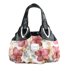 Hot Fashion handbag Women PU leather Bag Tote Bag Printing Handbags Satchel Dream blue flowers white Handstrap