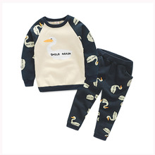 Autumn/Spring Fleece  Swan Boys Clothes Sets Children Sweatshirts+Pants Kids Outfits Clothing T1/2603AE