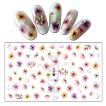 Hot 1 Sheet Shining Flower Pattern Nail Art Stickers Stamping 3D Nail Sticker Manicure Nail Care Decal BEF024(China)
