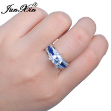 JUNXIN Brand Blue Round Ring Vintage White Gold Filled Jewelry Christmas Gifts Shipping From US OS-RW0729