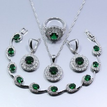 Free Shipping Fashion White Green Zircon 4PCS 925 Sterling Silver Women Jewelry Set Earrings Ring Necklace Pendant Bracelet Z56