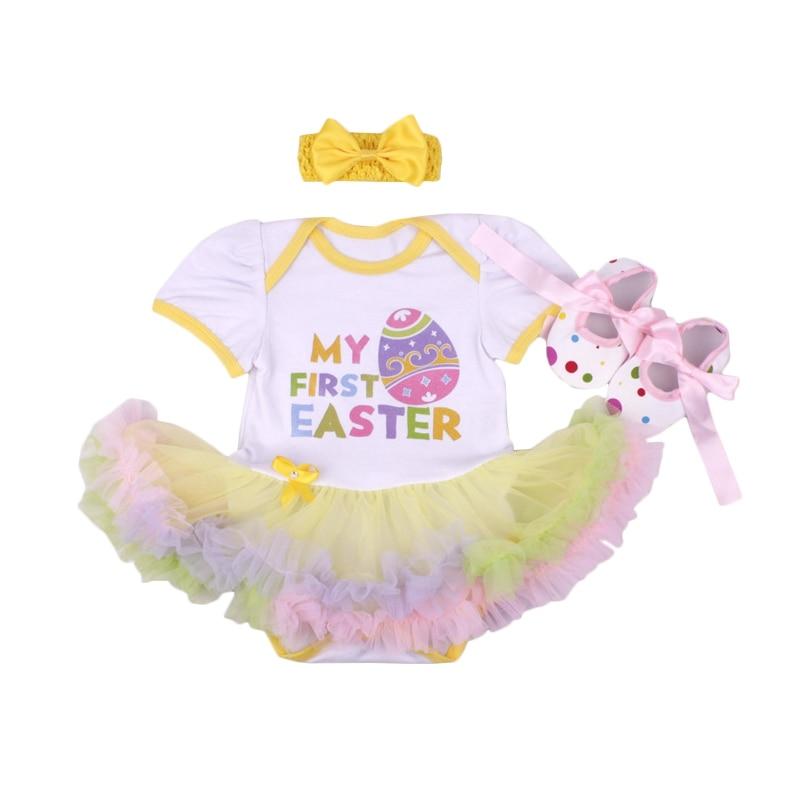 Rose Gold My 1st Easter Pink Bunny White Dress Newborn 1ST EASTER TUTU ROMPER