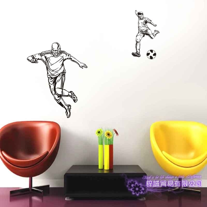 DCTAL Football Player Sticker Football Game Soccer Decal Helmets Kids Room Posters Vinyl Wall Decals F12