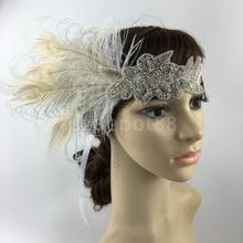 Fashion Diamante Rhinestone Feather Headband Flapper Fancy Dress Costume Party Hair band Headpiece 1920's Gatsby(China)