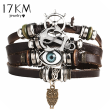17KM New Turkish Eye Leather Bracelet For Men Women Multiple Layer Vintage bracelets & bangles Wristband Braid Charms Bracelets(China)