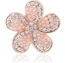10 Pieces Alloy Flower Rhinestone Embellishment Flatback Buttons Rose Gold Button Sewing Supplies 27mm