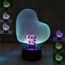 Romantic Heart Shape Acrylic Colorfuls Combination Changing LED Lamp 3D Baby Night Light Christmas Lighting Decor Gift Luminaria(China)