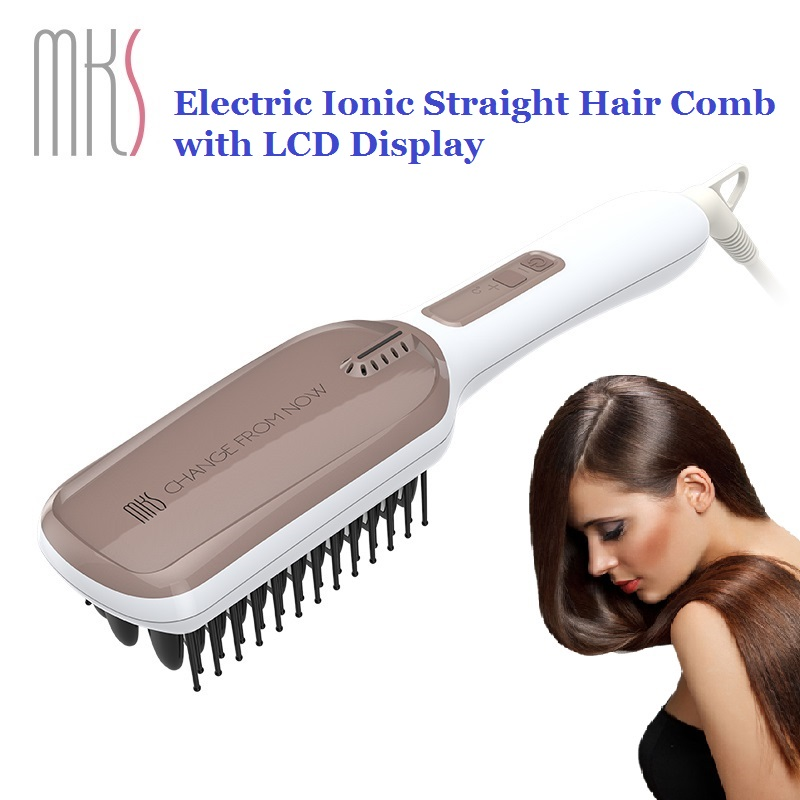 High Quality MKS Multifunctional Massage Comb Hair Brush Ionic Hair Straightener LCD Display Electric Straight Hair Cair Comb<br>