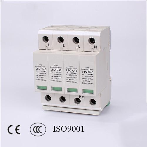 4P 20KA~40KA C ~385VAC Arrester Device LOB  House Surge Protector device Protective Low-Voltage<br>