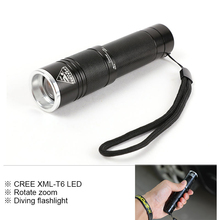 Mini Diving Flashlight Zoom Waterproof Light Long 3 modes Flashlight LED Outdoor Underwater Work Hand for 18650 or 3*AAA battery