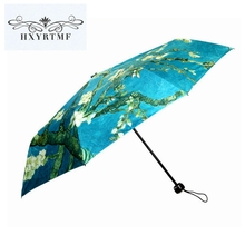 New Fashion Flower Almond Oil Painting Non-Automatic Umbrella Unique Durable Folding Anti-UV Sun/Rain Umbrella Manual Parasol