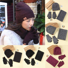 LNRRABC 3PCS/Set Winter Cotton Knitted Hats Scarves Gloves Solid Women Men Warm Elegant Scarves Set Accessories(China)