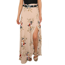 GZHOUSE High Waist Boho Style Long Skirt Women 2017 Split Print Floral Beach Maxi Skirts Female Vintage Sexy Slim Summer skirt