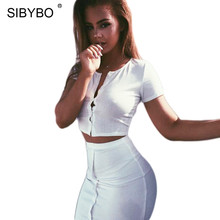 Sibybo Winter Autumn Dress 2 Piece Set Knitted Button White Women Sexy Crop Bodycon Party Dresses Two Pieces Outfits Vestidos(China)