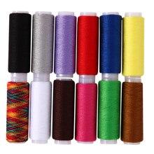 Высокое качество 12 шт. 12 Цветов Нитки разноцветные полиэстер Нитки конусов набор для рукоделия одежда Вышивание Craft(China)